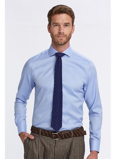 Hemington Açık Mavi Balıksırtı Doku Non-Iron Business Gömlek Mavi